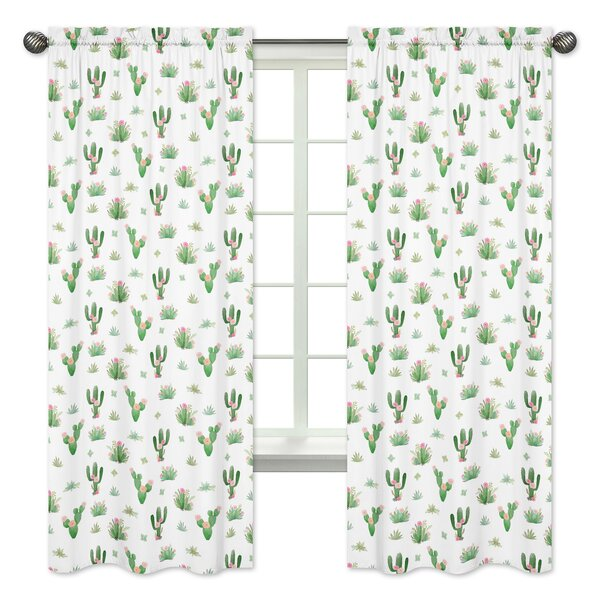 Cactus Floral Semi-Sheer Rod Pocket Panel Pair by Sweet Jojo Designs