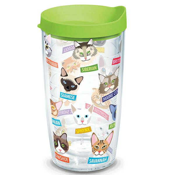 Pets Flat Art Cat Breed 16 oz. Plastic Travel Tumbler by Tervis Tumbler