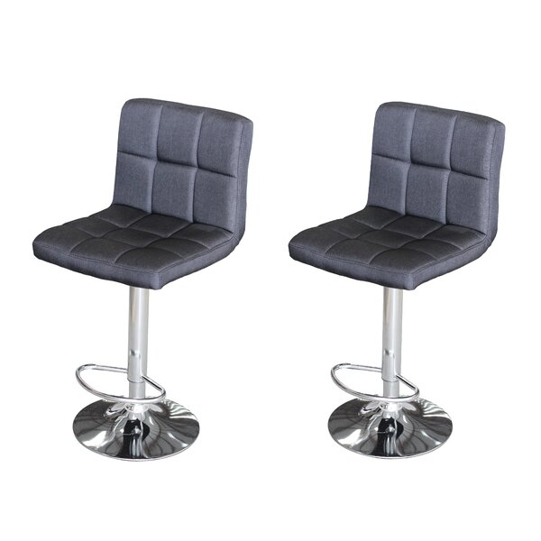Tucanae Adjustable Height Swivel Bar Stool (Set of 2) by Orren Ellis