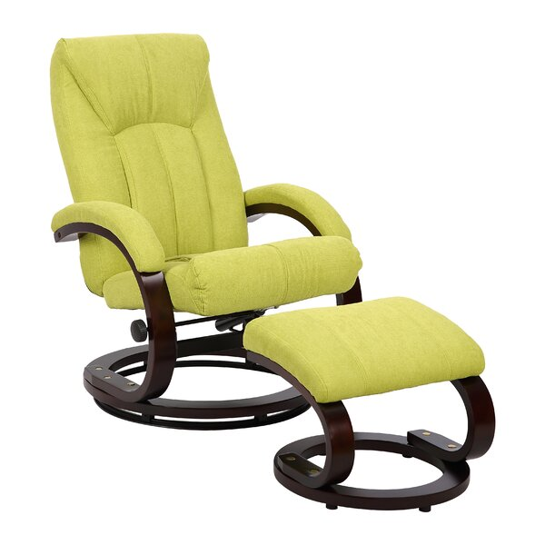 Trento Manual Swivel Recliner With Ottoman By Rissanti