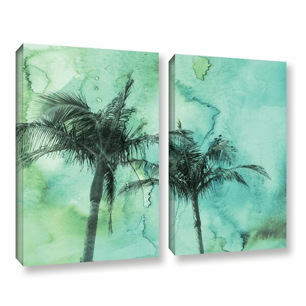 Palm Trees 2 2 Piece Painting Print on Wrapped Canvas Set by Bay Isle Home