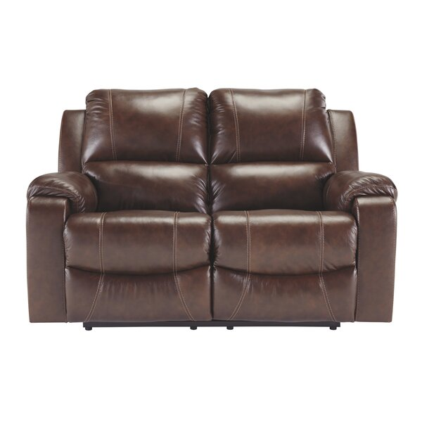 Dunaway Leather Reclining Loveseat By Millwood Pines