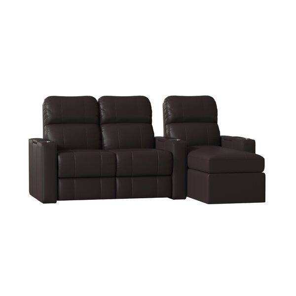 Top Grain Leather Home Theater Configurable Seating (Row Of 3) (Set Of 3) By Red Barrel Studio