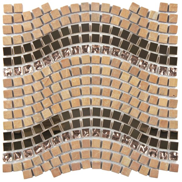 Sierra 0.563 x 0.563 Glass/Stone/Metal Mosaic Tile in Polished Metallics by EliteTile