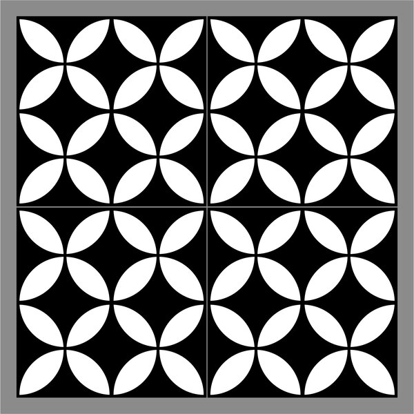 Gallery 8 x 8 Ceramic Field Tile in Redondo Black/White by Mulia Tile