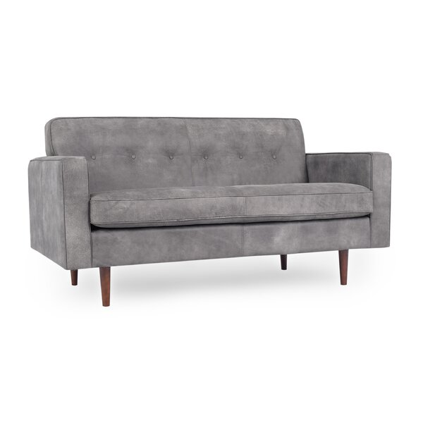 Read Reviews Mickey Mid-Century Leather Loveseat