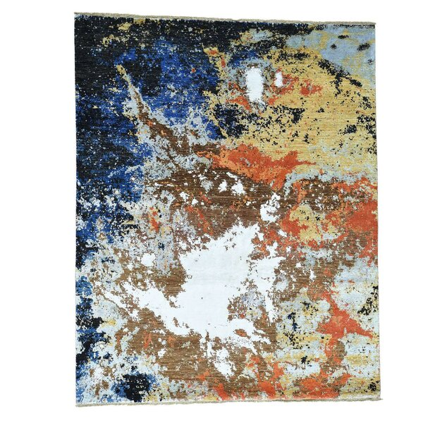 Abstract Ghazni Hand-Knotted Blue/Yellow/Brown Area Rug by 17 Stories