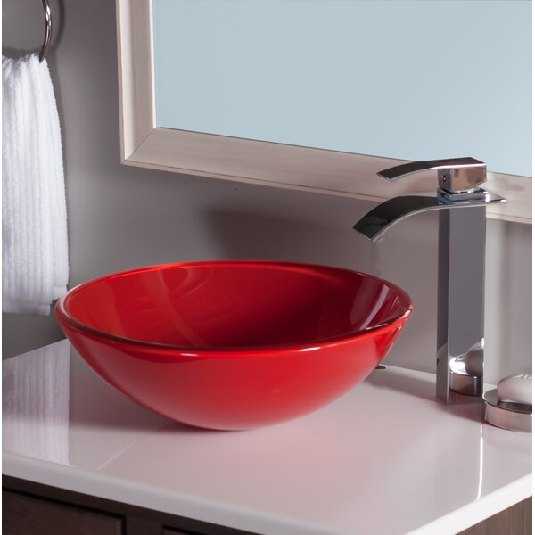Rosso Double Layer Glass Circular Vessel Bathroom Sink by Novatto