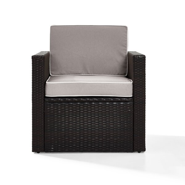 Belton Outdoor Wicker Deep Seating Patio Chair with Cushion by Mercury Row