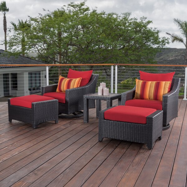 Northridge 5 Piece Rattan Sunbrella Conversation Set with Cushions