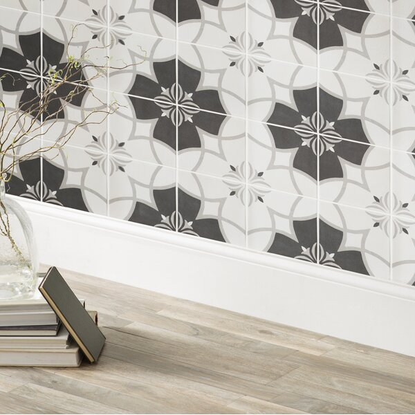 Forties 7.75 x 7.75 Ceramic Field Tile in Crest White/Gray by EliteTile