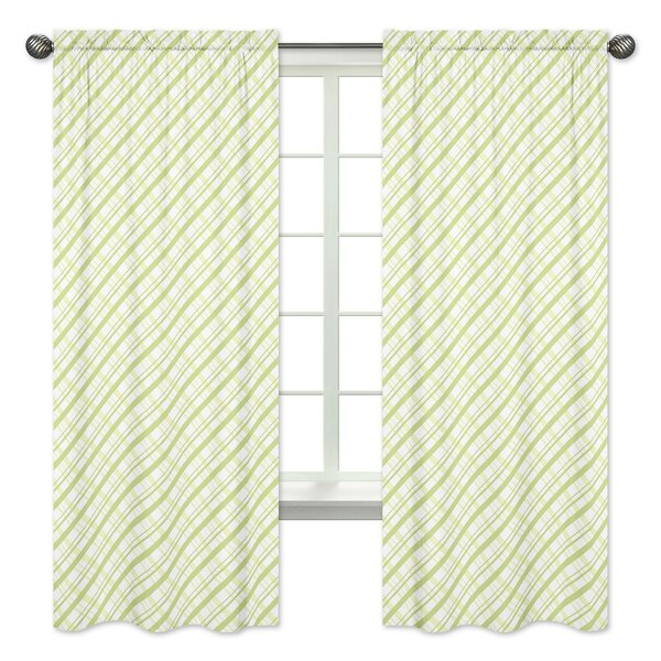 Leap Frog Plaid Semi-Opaque Rod Pocket Curtain Panels (Set of 2) by Sweet Jojo Designs