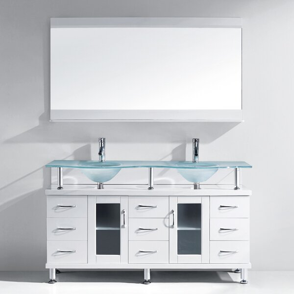 Millette 61 Double Bathroom Vanity Set with Frosted Tempered Glass Top and Mirror by Latitude Run