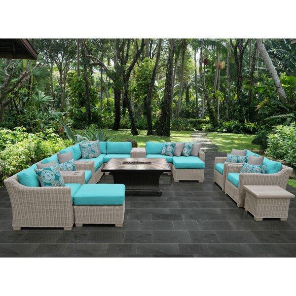 Claire 17 Piece Sectional Seating Group with Cushions by Rosecliff Heights