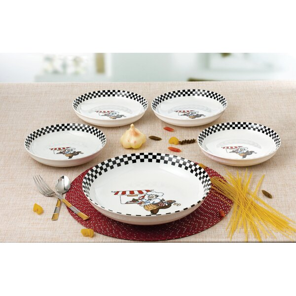 5 Piece Chef Design Porcelain Pasta Bowl Set by Lo