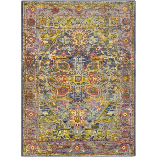 Wyclif Traditional Overdyed Lime/Bright Yellow Area Rug by Bungalow Rose
