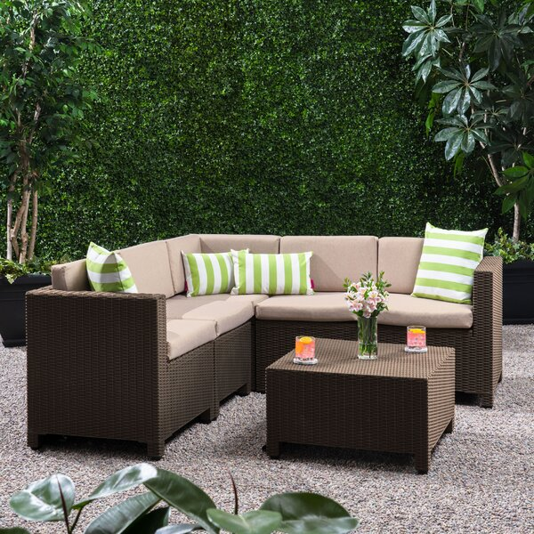 Dudek Outdoor 6 Piece Sectional Seating Group with Cushions by Ebern Designs