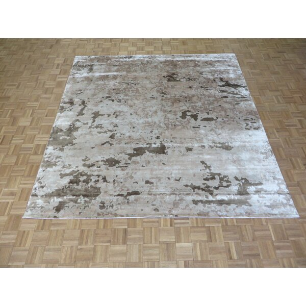 One-of-a-Kind Josephson Modern Abstract Hand-Knotted Wool Brown/Beige Area Rug by Canora Grey