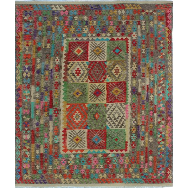 One-of-a-Kind Renita Kilim Hand-woven Wool Green/Red Area Rug by Isabelline