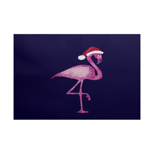Snow Bird Navy Blue/Pink Indoor/Outdoor Area Rug b