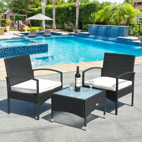 3 Piece Dining Set with Cushions by Costway