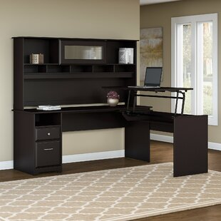 Hillsdale L-Shaped Height Adjustable Computer Desk with Hutch