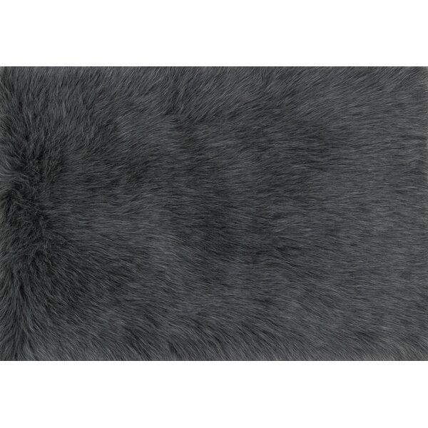 Zamorano Faux Fur Graphite Area Rug by Bloomsbury Market