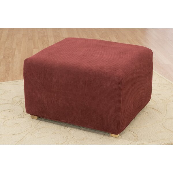 Stretch Pique Box Cushion Ottoman Slipcover By Sure Fit