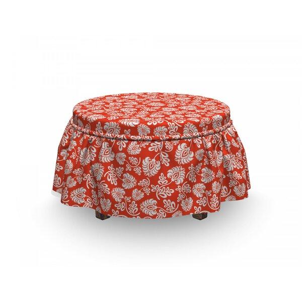 Floral Art Nouveau 2 Piece Box Cushion Ottoman Slipcover Set By East Urban Home