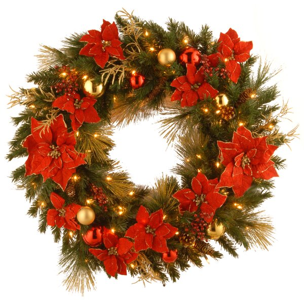 Pre-Lit Home Spun 30 Lighted Wreath by Andover Mills