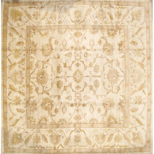 Turkish Oushak Original Design Hand-Knotted Wool Ivory Area Rug by Pasargad NY