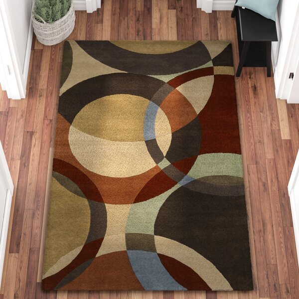 Dewald Chocolate/Red Area Rug by Ebern Designs