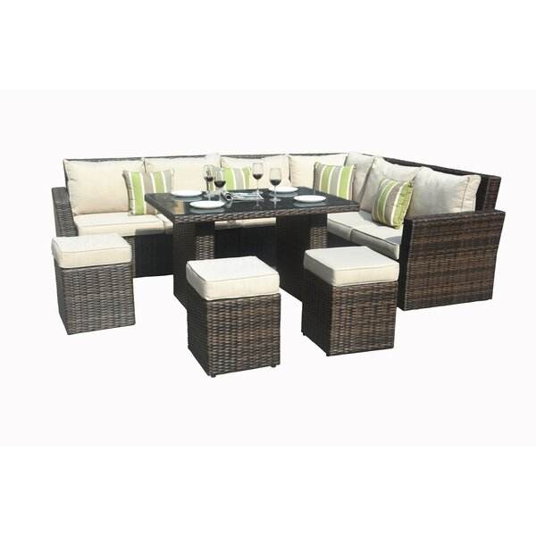 Angelica 8 Piece Lounge Dining with Cushions by Bayou Breeze