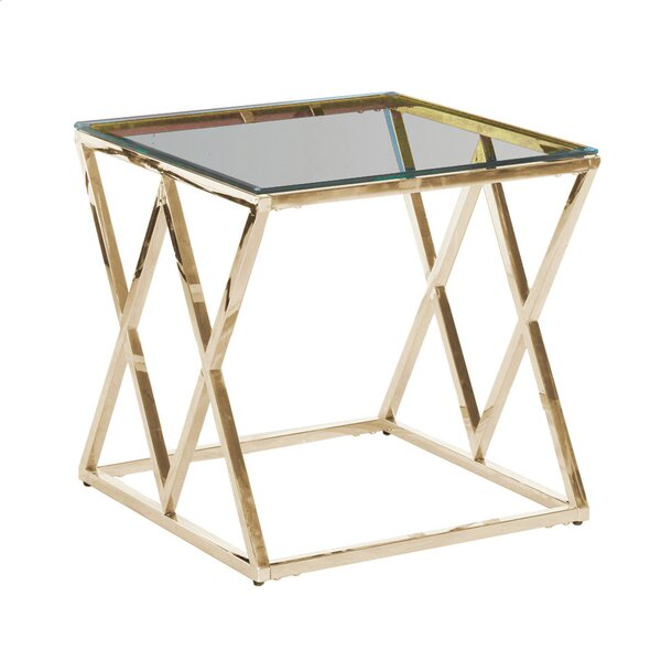 Clearview Metal/Glass Diamond Coffee Table by Orren Ellis