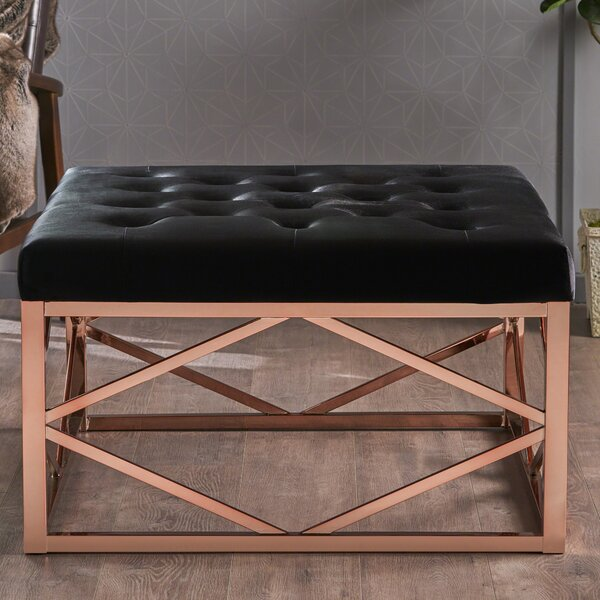 Hynes Modern Glam Tufted Ottoman by Mercer41
