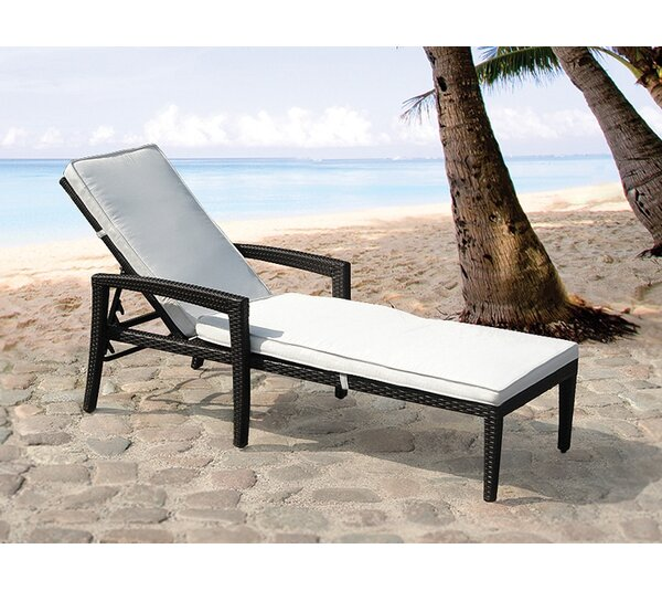 Garden Chaise Lounger with Cushion by Home & Haus