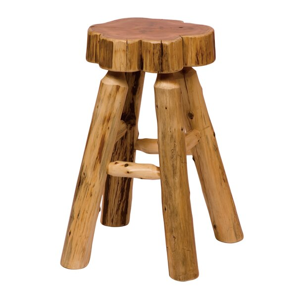 Traditional Cedar Log 24 Bar Stool by Fireside Lodge