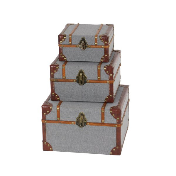 Wood/Fabric 3 Piece Decorative Box Set by Cole & Grey