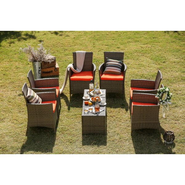 Lyndhurst 9 Piece Seating Group Set with Cushions by Bay Isle Home