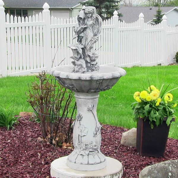 Resin Solar Fairy Flower on Demand Outdoor Water Fountain by Wildon Home ®