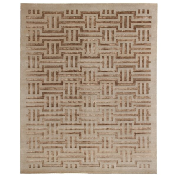 Super Tibetan Hand Knotted Wool/Silk Ivory Area Rug by Exquisite Rugs