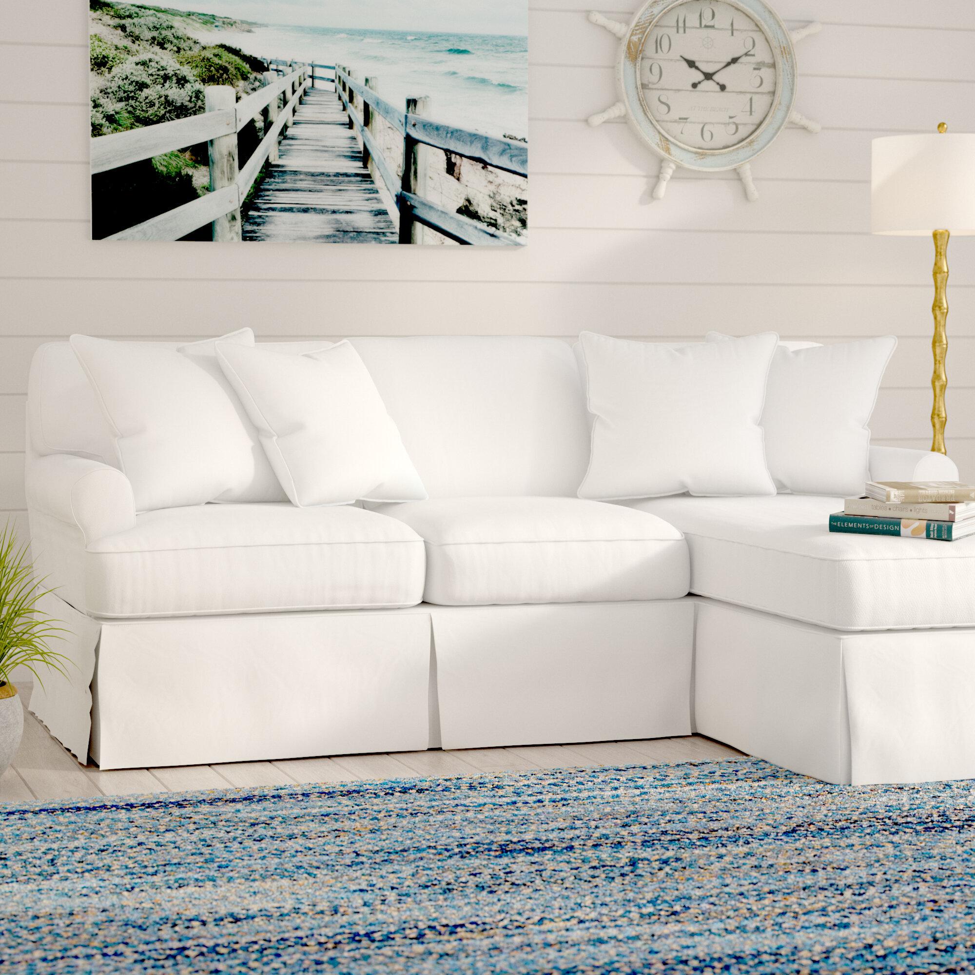 Beachcrest Home Coral Gables T-Cushion Sofa Slipcover Set | Wayfair