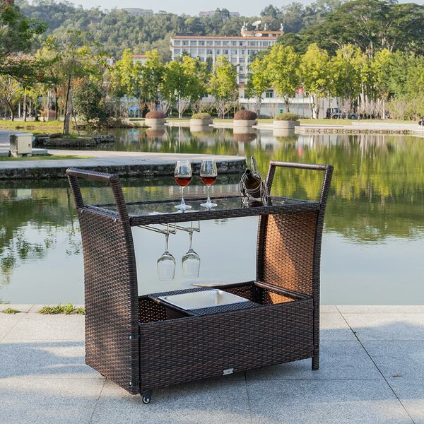 Dreiling Wicker Bar Serving Cart by Bay Isle Home