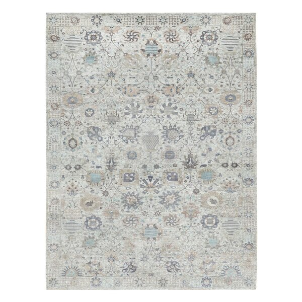 One-of-a-Kind Hand-Knotted New Age Tabriz Gray 12' x 18'2 Area Rug