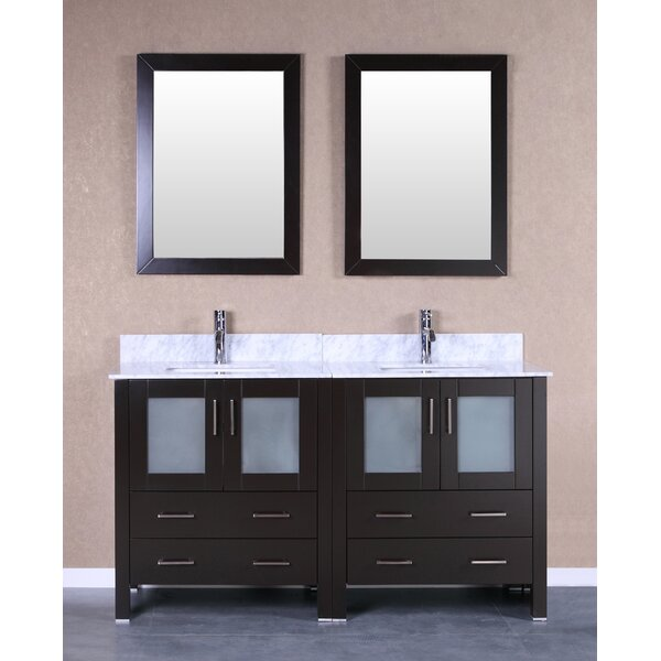 Crater 59 Double Bathroom Vanity Set with Mirror by Bosconi
