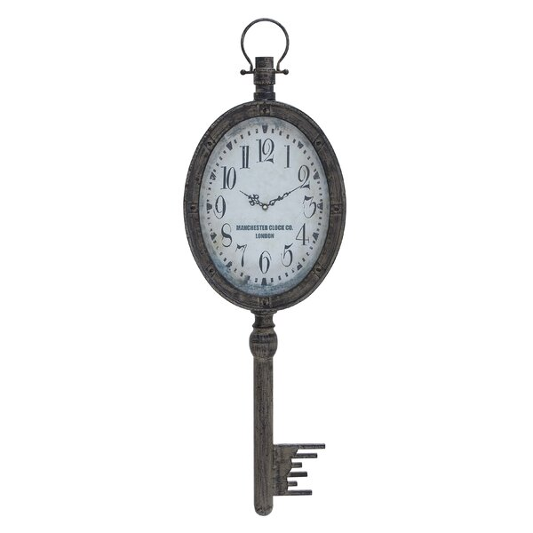Hanging Key Silver Metal Wall Clock by One Allium Way