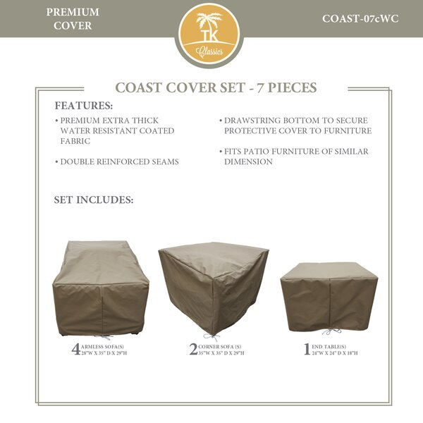 Coast Protective 7 Piece Water Resistant Patio Furniture Cover Set by TK Classics