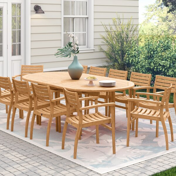 Catriona 13 Piece Teak Dining Set by Beachcrest Home