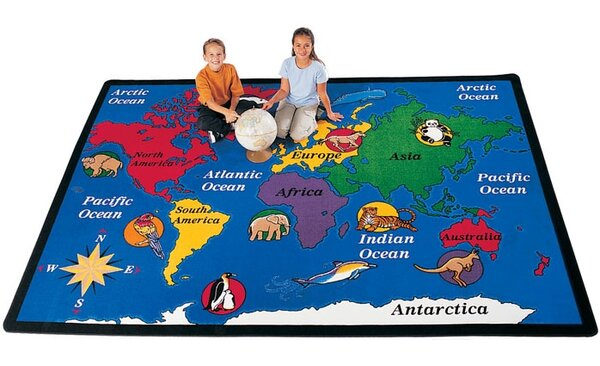 Geography Blue World Explorer Area Rug by Carpets for Kids