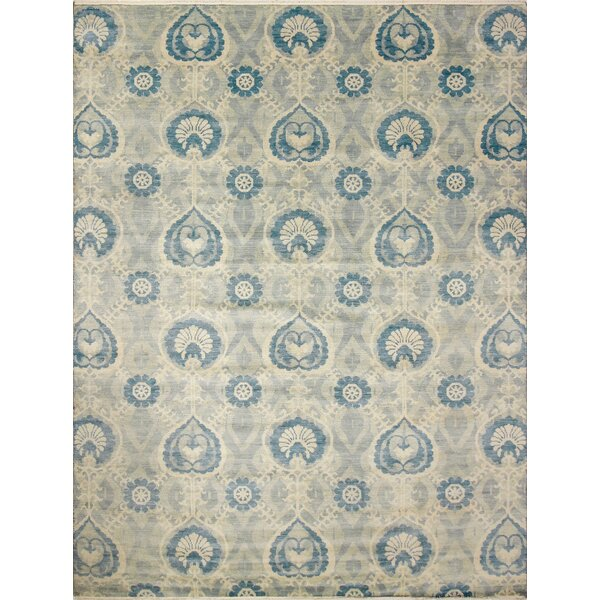 One-of-a-Kind Lona Hand-Knotted Wool Teal/Blue Area Rug by Isabelline